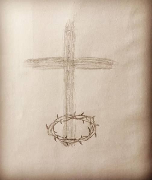 A rough sketch of a cross with a crown of thorns around the base